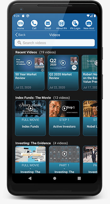 IFA App Android Videos List